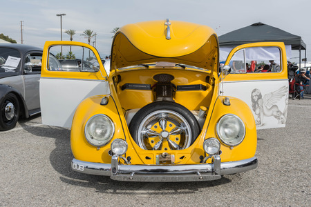 Irwindale, USA - March 4, 2017: Classic Volkswagen Beetle Car on display on display during 742 Race Wars at the Irwindale Speedway.