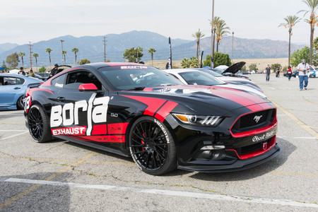 Irwindale, USA - March 4, 2017: Ford Mustang on display during 742 Race Wars at the Irwindale Speedway.