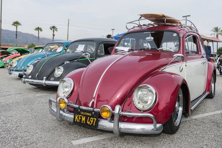 Irwindale, USA - March 4, 2017: Classic Volkswagen Beetle Cars on display on display during 742 Race Wars at the Irwindale Speedway.