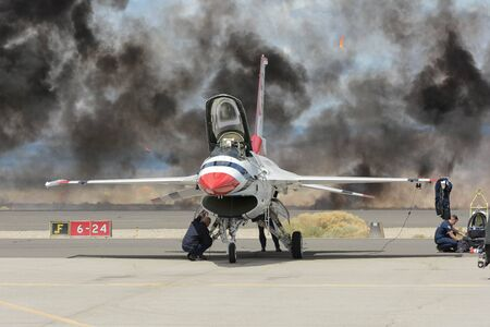 Lancaster, USA - March 25, 2017: Lockheed Martin F-16 Fighting Falcon on display during Los Angeles County Air Show at the William J Fox Airfield.