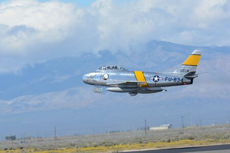Lancaster, USA - March 25, 2017: North American F-86 Sabre on display during Los Angeles County Air Show at the William J Fox Airfield. Sajtókép