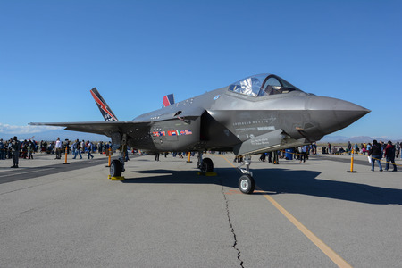 Lancaster, USA - March 25, 2017: Lockheed Martin F-35 Lightning II on display during Los Angeles County Air Show at the William J Fox Airfield.