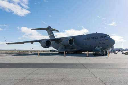 Lancaster, USA - March 25, 2017: USAF United States Air Force Boeing C-17A Globemaster III on display during Los Angeles County Air Show at the William J Fox Airfield.