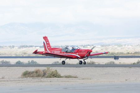Lancaster, USA - March 25, 2017: Rob Harrison The Tumbling Bear is taxiing an a Zlin 142 during Los Angeles County Air Show at the William J Fox Airfield.