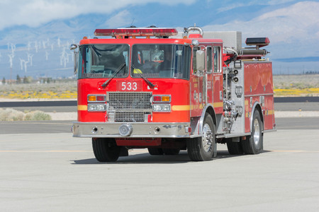 Lancaster, USA - March 25, 2017: Fire truck on display during Los Angeles County Air Show at the William J Fox Airfield.