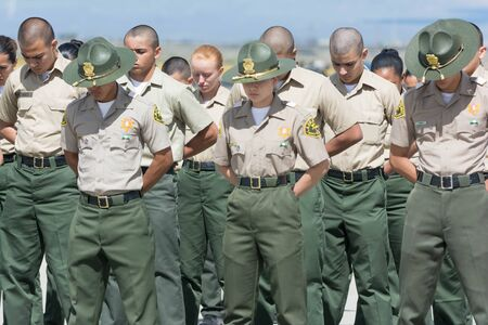 Lancaster, USA - March 25, 2017: Los Angeles County Sheriffs Explorers on display during Los Angeles County Air Show at the William J Fox Airfield.