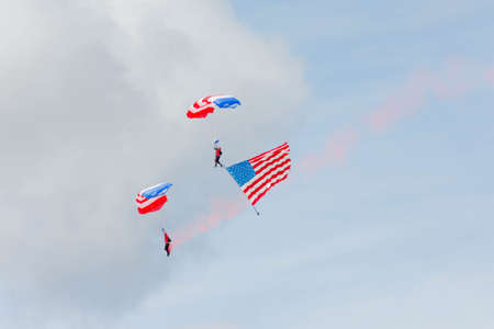 Lancaster, USA - March 25, 2017: Patriot Parachute Team during Los Angeles County Air Show at the William J Fox Airfield.