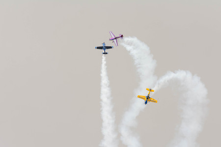 Lancaster, USA - March 25, 2017: Rob Holland, Bill Stein and Matt Chapman Acro Team during Los Angeles County Air Show at the William J Fox Airfield.
