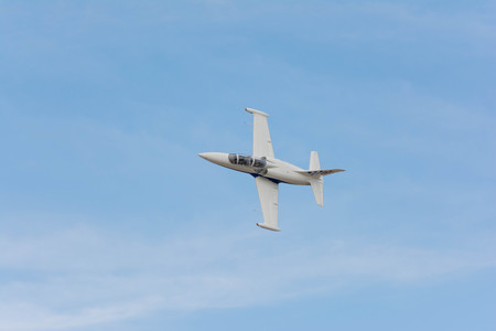 Lancaster, USA - March 25, 2017: Paul Sticky Strickland is flying an a L-39 Albatros Jet during Los Angeles County Air Show at the William J Fox Airfield.