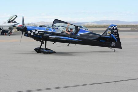 Lancaster, USA - March 25, 2017: Rob Holland is taxiing an a MXS-RH during Los Angeles County Air Show at the William J Fox Airfield. 新聞圖片