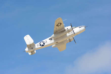 Lancaster, USA - March 25, 2017: North American B-25J Mitchell on display during Los Angeles County Air Show at the William J Fox Airfield.