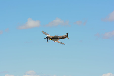 Lancaster, USA - March 25, 2017: Supermarine Spitfire Mk XIV on display during Los Angeles County Air Show at the William J Fox Airfield.