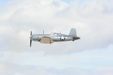 Lancaster, USA - March 25, 2017: Vought F4U-1 Corsair on display during Los Angeles County Air Show at the William J Fox Airfield. 新聞圖片
