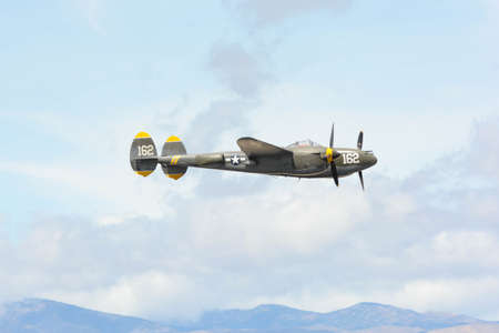 Lancaster, USA - March 25, 2017: Lockheed P-38J Lightning on display during Los Angeles County Air Show at the William J Fox Airfield.