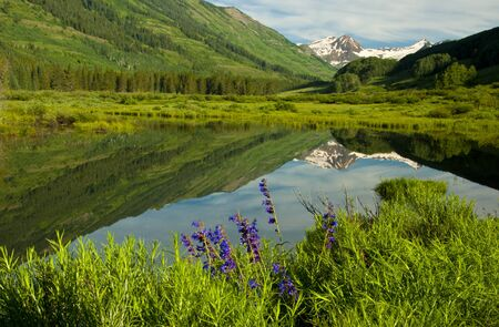 ouray: Snow capped mountains reflected in water