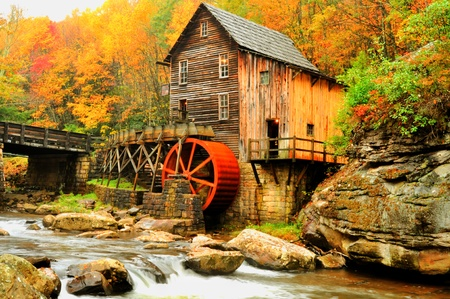 grist mill: Old grist mill in fall Stock Photo