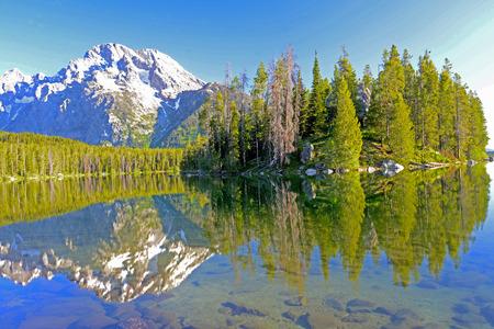 snow capped: Reflejos en el agua de los �rboles verdes y un nevado