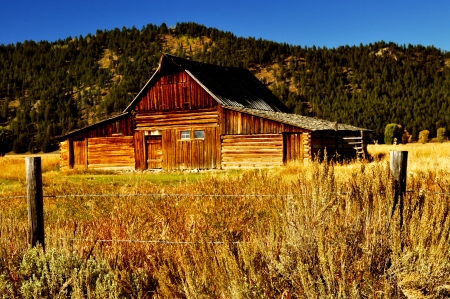 Old rustic barn on Mormon Road in the Grand Teton Mountains