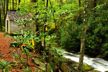 the smokies: An old grist mill in the Smokies fall season