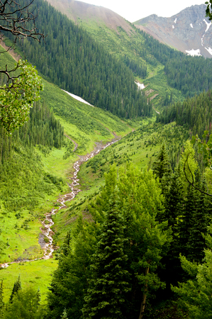 runoff: Long waterfall snow runoff in Colorado mountains