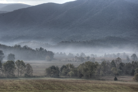 Fog over the land in Cades Cove.