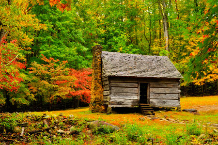 Little log cabin in The Great Smoky Mountains. photo