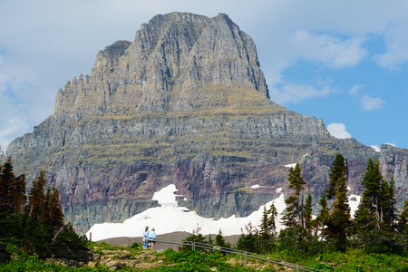 Snowy mountains in summer in Glacier National Park. photo