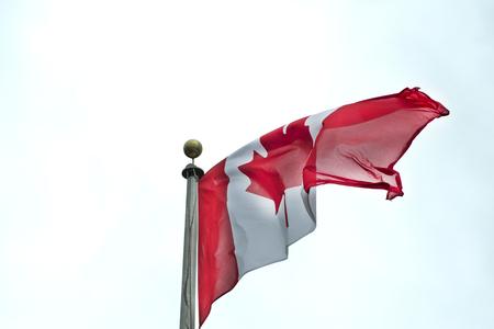 Canada flag waving against a clear sky. photo