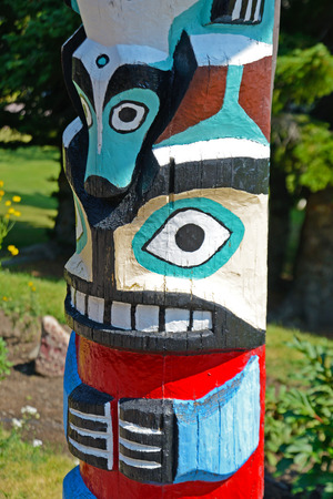 northwest indian art: close-up totem pole in Montana.