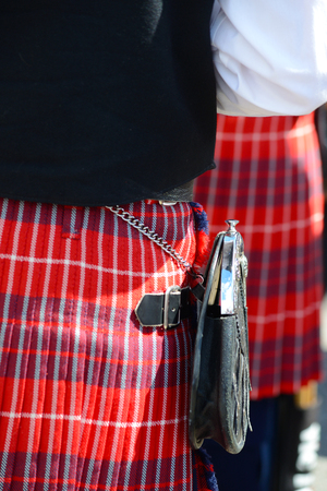 Close-up dress of Scotts-Irish festival players.