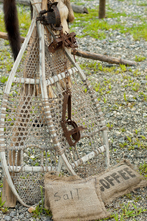Snowshoes and staples on display.
