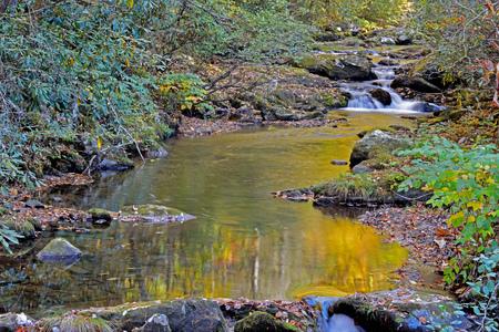 smokies: Reflexiones de la ca�da de agua en s peque�o arroyo en las Monta�as Humeantes
