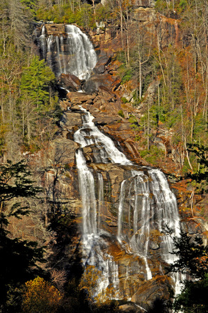 newfound gap: White Water Falls in fall season.