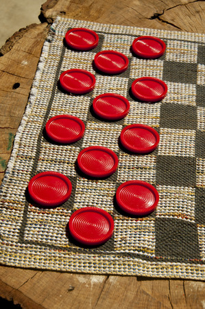 Checkers set out for playing.