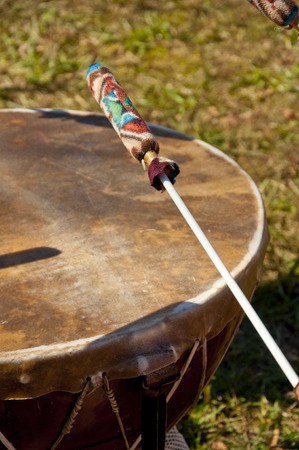 american music: Indian drums being played at a festival.