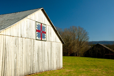 outbuilding: Country barn with quilt pattern. Stock Photo