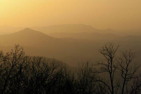 smoky mountains: Sunset hours over the Smoky Mountains. Stock Photo
