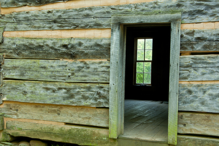 great smokies: Close-up open door on historic house in Cades Cove. Stock Photo