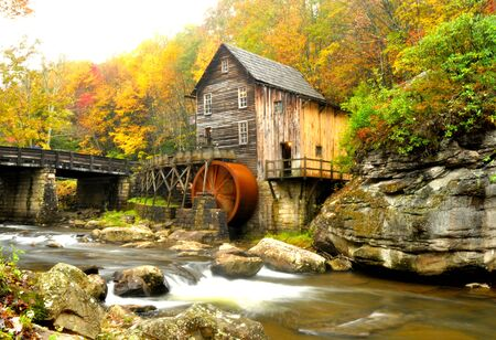 grist: Glades Grist Mill in W.VA in fall colors. Stock Photo