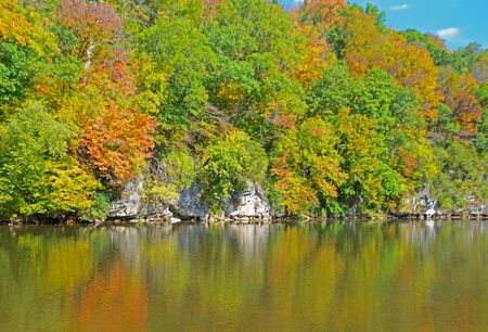 the smokies: Smokies river and reflections in fall colors. Stock Photo