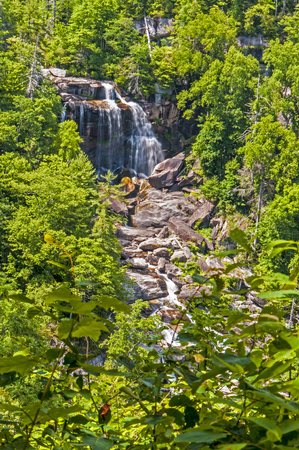 greenery: White Water Falls surrounded with greenery. Stock Photo