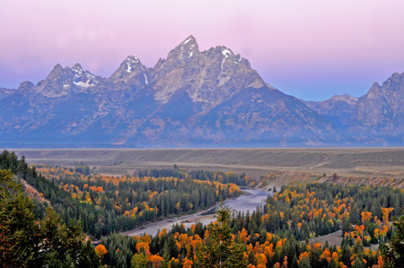 Snake River in fall colors at dusk. Stock Photo