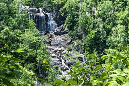 Whitewater Falls in summer surrounded with greenery. Stock Photo