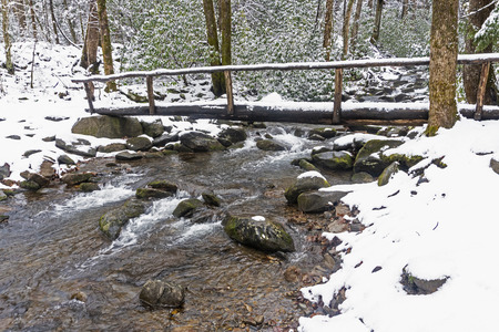 Snow covers a foot log and creek in the Smoky Mountains.