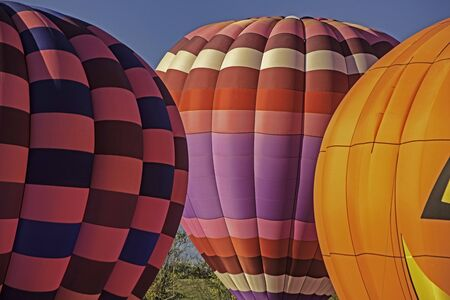 Colorful hot air balloons stand against a blue sky.