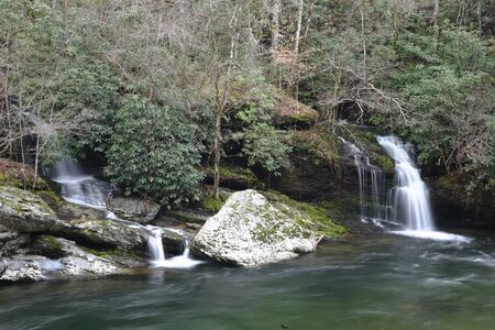 Two flowing waterfalls side by side in the Smoky Mountains. Stock Photo