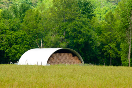 Hay is stored in a steel metal building for winter feed.