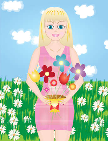 good s: girl with flowers
