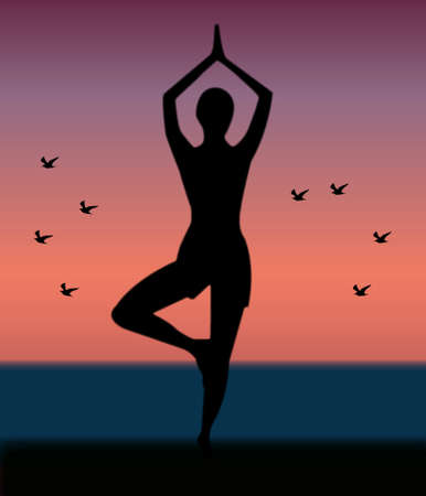 flexible woman: girl practices yoga silhouette Illustration