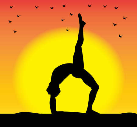 practices: girl practices yoga silhouette Illustration